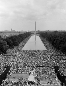 aerial view of March on Washington crowd, August 1963