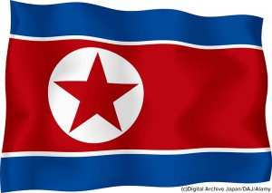 North Korean flag against a white background, digitally generated. (c)Digital Archive Japan/DAJ/Alamy. MHE World.