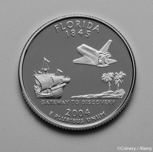 Florida State quarter 2004. ©Coinery / Alamy. MHE World