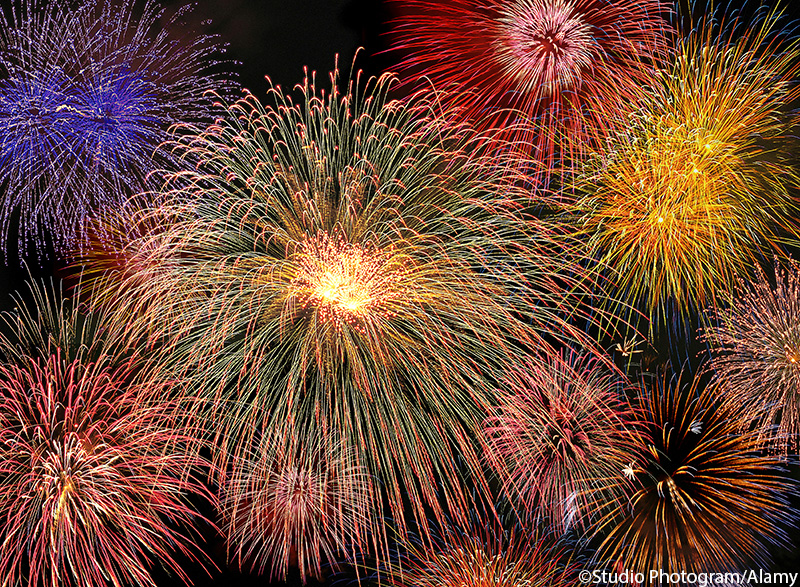 Night sky filled with colorful fireworks display. ©Studio Photogram/Alamy. MHE World.