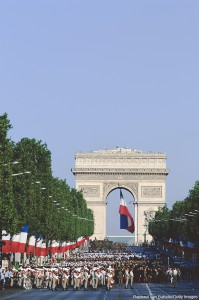 Parade on Avenue des Champs-Elysees in front of the Arc de Triomphe for Bastille Day (July 14), Paris, France. Raphael Van Butsele/Getty Images. MHE Canada;MHE USA