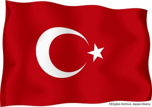 Turkish flag against a white background, digitally generated. (c) Digital Archive Japan / Alamy. MHE World.