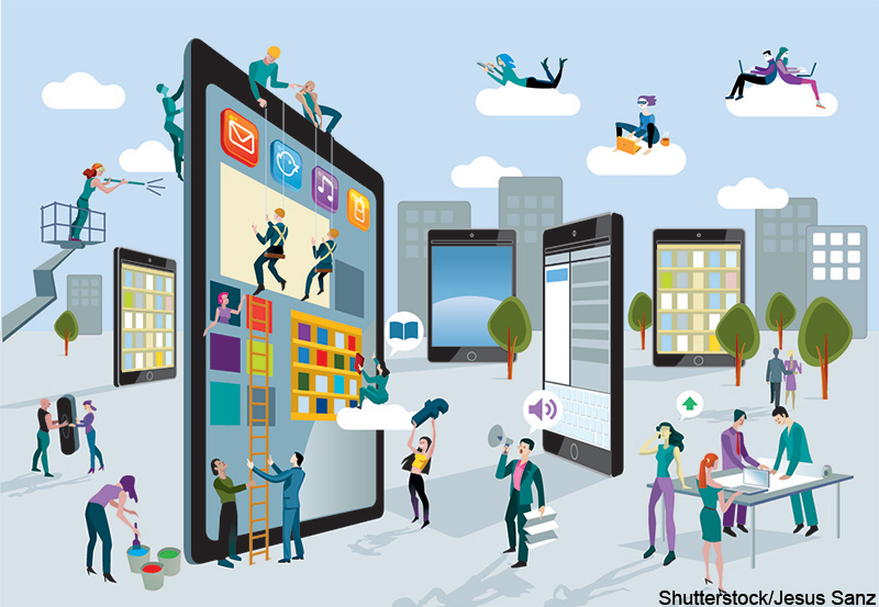 A team of people work creatively together building giant digital tablets, like skyscrapers, and creating the content. Other people download this content on their mobile devices. Horizontal composition. Shutterstock / Jesus Sanz. MHE World.