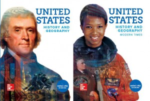 2018 edition cover images for United States History and Geography and United States History and Geography Modern Times textbooks; credit: McGraw-Hill Education