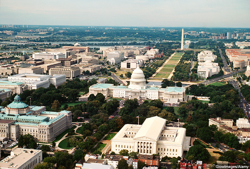 Overhead view of government buildings in Washington DC,