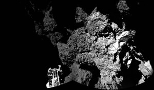 The Philae lander of the European Space Agency's Rosetta mission is safely on the surface of Comet 67P/Churyumov-Gerasimenko, as these first two images from the lander's CIVA camera confirm.. ESA/Rosetta/Philae/CIVA. https://www.nasa.gov/jpl/pia18876/welcome-to-a-comet-from-lander-on-surface.