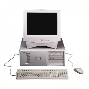 old personal compputer with monitor, keyboard, mouse