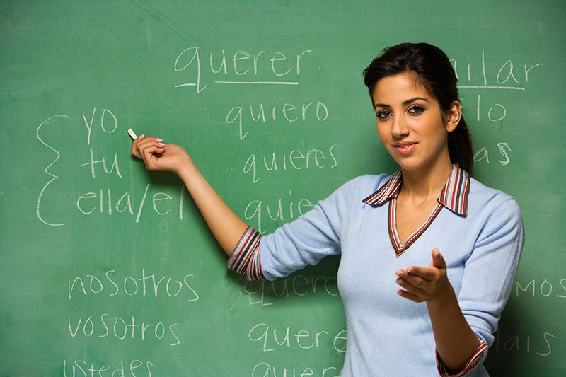 Hispanic female teacher in front of blackboard. Credit: Blend Images/Alamy
