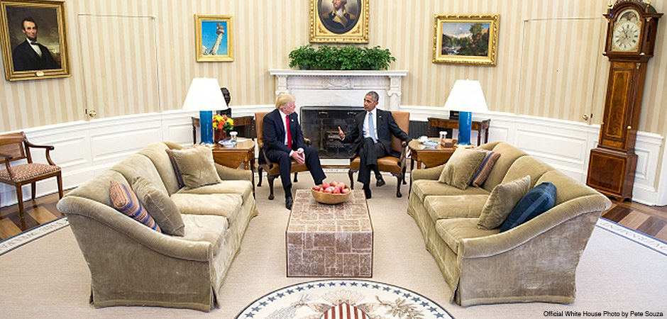President Barack Obama meets with President-elect Donald Trump in the Oval Office, Nov. 10, 2016.