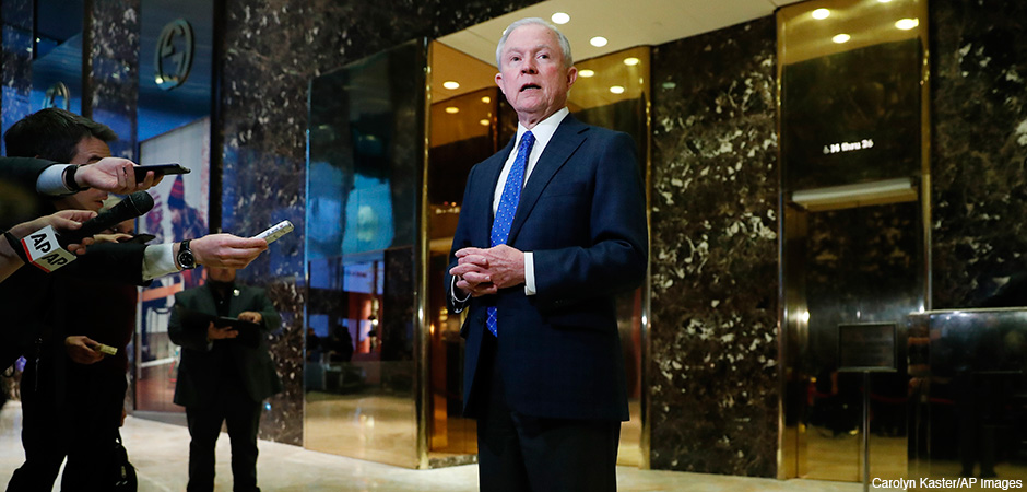 Nov. 17, 2016, Sen. Jeff Sessions, R-Ala. speaks to media at Trump Tower in New York. President-elect Donald Trump has picked Sessions for the job of attorney general.