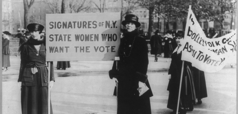 Audre Osborne and Mrs. James S. Stevens, with several others in background, 1917 holding suffragette signs.