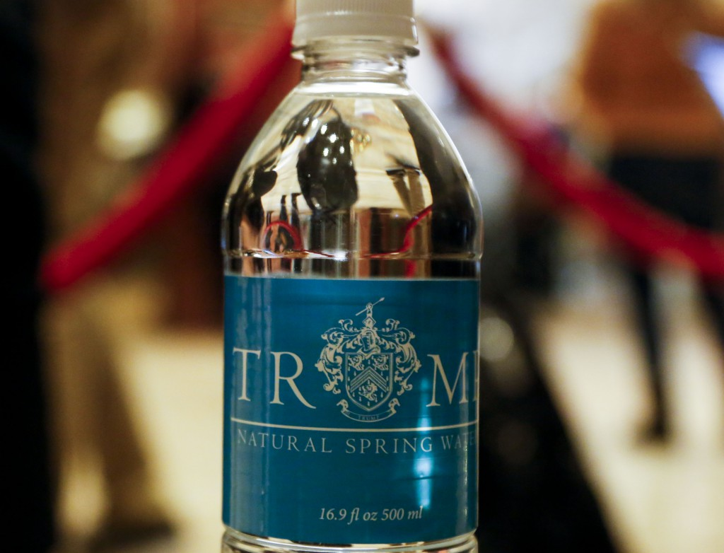 A Trump bottle of water in the lobby of the Trump Tower, while United States President-elect Donald Trump is holding meetings on top floors of the Trump Tower.
