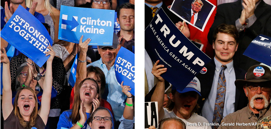 This combination of photos shows supporters of Democratic presidential candidate Hillary Clinton in Tempe, Ariz., on Wednesday, Nov. 2, 2016, and supporters of Republican presidential candidate Donald Trump in Baton Rouge, La., on Thursday, Feb. 11, 2016. Ross D. Franklin, Gerald Herbert/AP Images. www.apimages.com.
