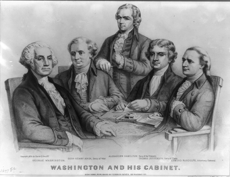 Washington and his cabinet. Published by Currier & Ives, c1876. 1 print : lithograph.