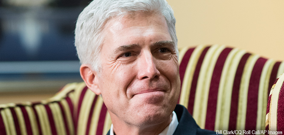 Supreme Court nominee Judge Neil Gorsuch. Bill Clark/CQ Roll Call/AP Images.