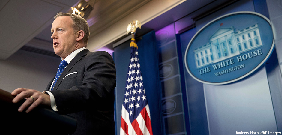 In this Feb. 21, 2017, file photo, White House press secretary Sean Spicer speaks during the daily press briefing at the White House in Washington. The Trump administration could revise or withdraw an Obama-era directive requiring public schools to let transgender students use bathrooms and locker rooms that match their chosen gender identity. Credit: Andrew Harnik/AP Images