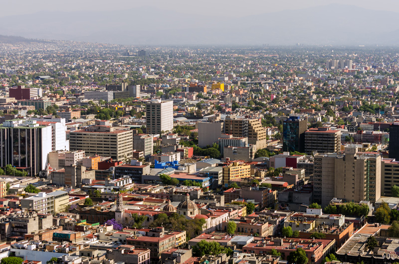 View of downtown Mexico City, Mexico.