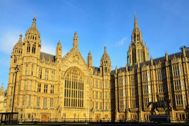 View of the Palace of Westminster, where the British Houses of Parliament meet, London, England, showing Central Tower on the right