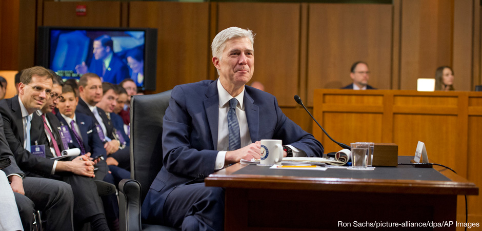Judge Neil Gorsuch testifies before the United States Senate Judiciary Committee on his nomination as Associate Justice of the US Supreme Court to replace the late Justice Antonin Scalia on Capitol Hill in Washington, DC on Wednesday, March 22, 2017.
