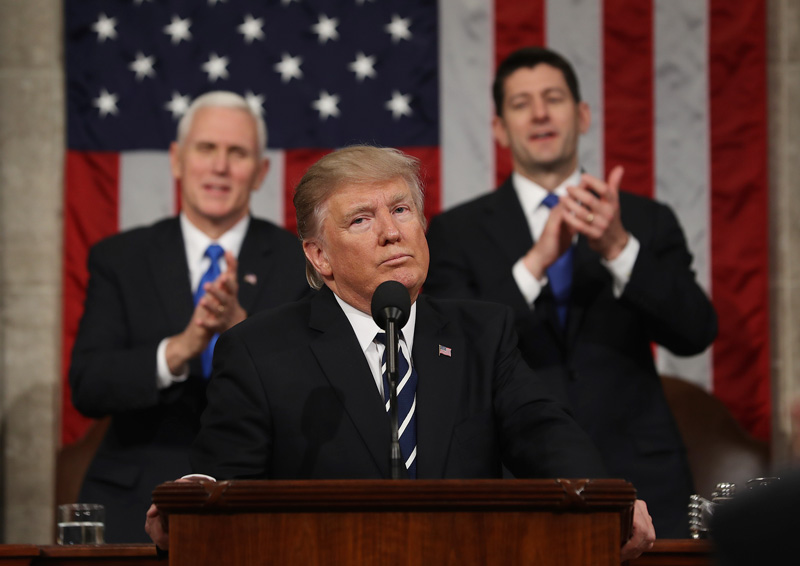 President Donald J. Trump delivered his first address to a joint session of Congress on February 28.