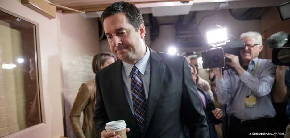 House Intelligence Committee Chairman Rep. Devin Nunes is pursued by reporters on March 28, 2017.