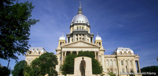 The State Capitol Building at Springfield Illinois with statue of Abraham Lincoln