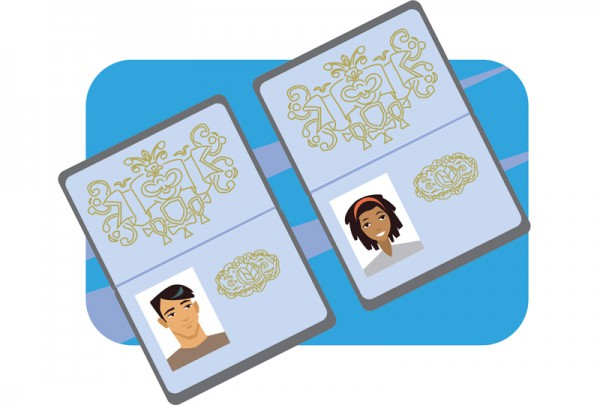illustration of two passports
