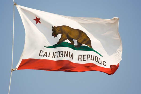 View of the California state flag flying in the breeze under a blue sky.